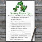 Dinosaur Nursery Rhyme Quiz Game,T-rex Baby shower games,INSTANT DOWNLOAD--327