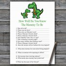 Dinosaur How Well Do You Know Game,T-rex Baby shower games,INSTANT DOWNLOAD--327