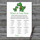 Dinosaur What's In Your Purse Game,T-rex Baby shower games,INSTANT DOWNLOAD--327