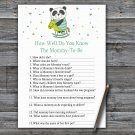 Panda How Well Do You Know Game,Panda Baby shower games,INSTANT DOWNLOAD--326