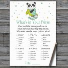 Panda What's In Your Purse Game,Panda Baby shower games,INSTANT DOWNLOAD--326
