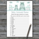 Blue Hippo Baby Animals Name Game,Blue Hippo Baby shower games,INSTANT DOWNLOAD--325