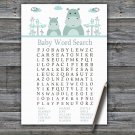 Blue Hippo Baby Shower Word Search Game,Blue Hippo Baby shower games,INSTANT DOWNLOAD--325