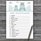 Blue Hippo Baby Word Scramble Game,Blue Hippo Baby shower games,INSTANT DOWNLOAD--325