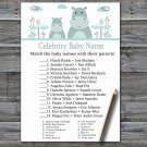 Blue Hippo Celebrity Baby Name Game,Blue Hippo Baby shower games,INSTANT DOWNLOAD--325