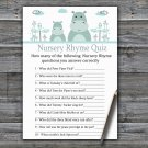 Blue Hippo Nursery Rhyme Quiz Game,Blue Hippo Baby shower games,INSTANT DOWNLOAD--325