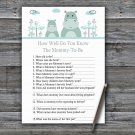 Blue Hippo How Well Do You Know Game,Blue Hippo Baby shower games,INSTANT DOWNLOAD--325