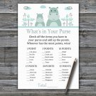 Blue Hippo What's In Your Purse Game,Blue Hippo Baby shower games,INSTANT DOWNLOAD--325