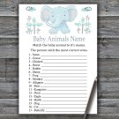 Blue elephant Baby Animals Name Game,Elephant Baby shower games,INSTANT DOWNLOAD--324
