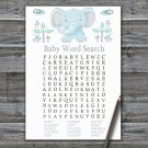 Blue elephant Baby Shower Word Search Game,Elephant Baby shower games,INSTANT DOWNLOAD--324