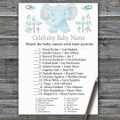 Blue elephant Celebrity Baby Name Game,Elephant Baby shower games,INSTANT DOWNLOAD--324