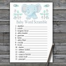 Blue elephant Baby Word Scramble Game,Elephant Baby shower games,INSTANT DOWNLOAD--324