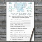 Blue elephant Nursery Rhyme Quiz Game,Elephant Baby shower games,INSTANT DOWNLOAD--324