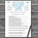 Blue elephant How Well Do You Know Game,Elephant Baby shower games,INSTANT DOWNLOAD--324