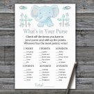 Blue elephant What's In Your Purse Game,Elephant Baby shower games,INSTANT DOWNLOAD--324