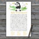 Zebra Baby Shower Word Search Game,Zebra Baby shower games,INSTANT DOWNLOAD--323