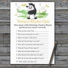 Zebra Nursery Rhyme Quiz Game,Zebra Baby shower games,INSTANT DOWNLOAD--323