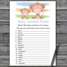 Monkey Baby Animals Name Game,Monkey Baby shower games,INSTANT DOWNLOAD--322