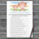 Monkey Nursery Rhyme Quiz Game,Monkey Baby shower games,INSTANT DOWNLOAD--322