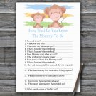 Monkey How Well Do You Know Game,Monkey Baby shower games,INSTANT DOWNLOAD--322