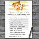 Tiger Nursery Rhyme Quiz Game,Tiger Baby shower games,INSTANT DOWNLOAD--321