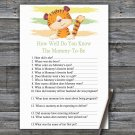 Tiger How Well Do You Know Game,Tiger Baby shower games,INSTANT DOWNLOAD--321