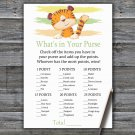 Tiger What's In Your Purse Game,Tiger Baby shower games,INSTANT DOWNLOAD--321