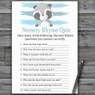 Raccoon Nursery Rhyme Quiz Game,Raccoon Baby shower games,INSTANT DOWNLOAD--320