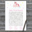 Unicorn Baby Shower Word Search Game,Unicorn Baby shower games,INSTANT DOWNLOAD--319