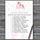 Unicorn Celebrity Baby Name Game,Unicorn Baby shower games,INSTANT DOWNLOAD--319