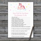 Unicorn How Well Do You Know Game,Unicorn Baby shower games,INSTANT DOWNLOAD--319