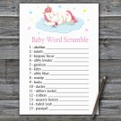 Unicorn Baby Word Scramble Game,Sleeping Unicorn Baby shower games,INSTANT DOWNLOAD--318