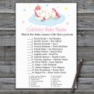 Unicorn Celebrity Baby Name Game,Sleeping Unicorn Baby shower games,INSTANT DOWNLOAD--318