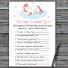 Unicorn Nursery Rhyme Quiz Game,Sleeping Unicorn Baby shower games,INSTANT DOWNLOAD--318