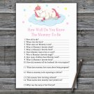 Unicorn How Well Do You Know Game,Sleeping Unicorn Baby shower games,INSTANT DOWNLOAD--318
