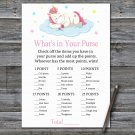 Unicorn What's In Your Purse Game,Sleeping Unicorn Baby shower games,INSTANT DOWNLOAD--318