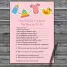 Baby toys How Well Do You Know Game,Baby toys Baby shower games,INSTANT DOWNLOAD--316
