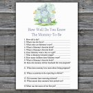 Blue Hippo How Well Do You Know Game,Blue Hippo Baby shower games,INSTANT DOWNLOAD--304