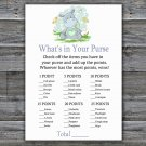Blue Hippo What's In Your Purse Game,Blue Hippo Baby shower games,INSTANT DOWNLOAD--304