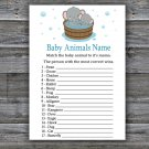 Cute elephant Baby Animals Name Game,Cute elephant Baby shower games,INSTANT DOWNLOAD--303