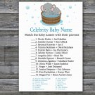 Cute elephant Celebrity Baby Name Game,Cute elephant Baby shower games,INSTANT DOWNLOAD--303