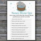 Cute elephant Nursery Rhyme Quiz Game,Cute elephant Baby shower games,INSTANT DOWNLOAD--303