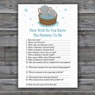 Cute elephant How Well Do You Know Game,Cute elephant Baby shower games,INSTANT DOWNLOAD--303