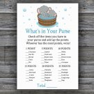 Cute elephant What's In Your Purse Game,Cute elephant Baby shower games,INSTANT DOWNLOAD--303