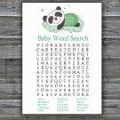 Sleeping panda Baby Shower Word Search Game,Sleeping panda Baby shower games,INSTANT DOWNLOAD--302