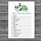 Sleeping panda Baby Word Scramble Game,Sleeping panda Baby shower games,INSTANT DOWNLOAD--302