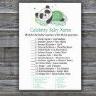 Sleeping panda Celebrity Baby Name Game,Sleeping panda Baby shower games,INSTANT DOWNLOAD--302