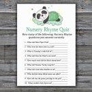 Sleeping panda Nursery Rhyme Quiz Game,Sleeping panda Baby shower games,INSTANT DOWNLOAD--302