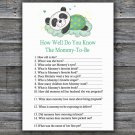 Sleeping panda How Well Do You Know Game,Sleeping panda Baby shower games,INSTANT DOWNLOAD--302