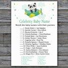 Cute panda Celebrity Baby Name Game,Cute panda Baby shower games,INSTANT DOWNLOAD--301